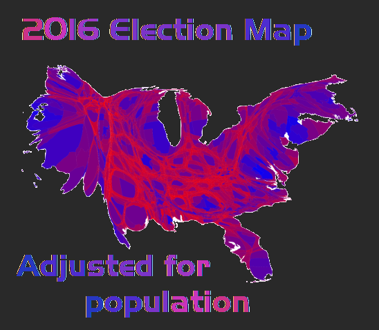 Why You Should Talk To Everyone Lessons From The US Election - Us political map adjusted for population 2016